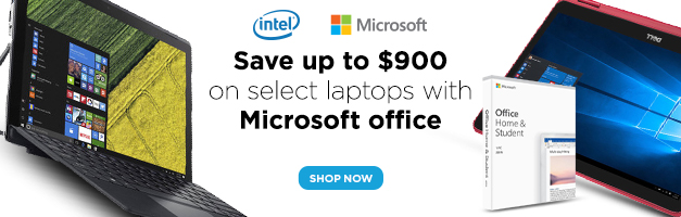 Laptops with Microsoft Office banner