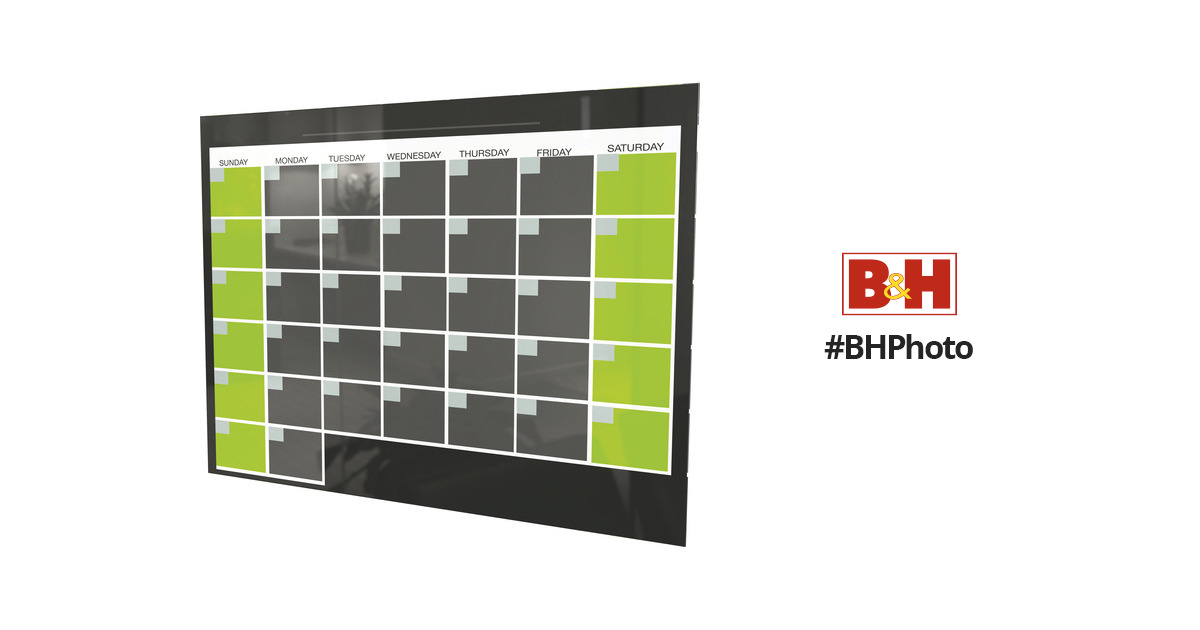 Balt Black Magnetic Glass Dry Erase Monthly Calendar 84110 B&H