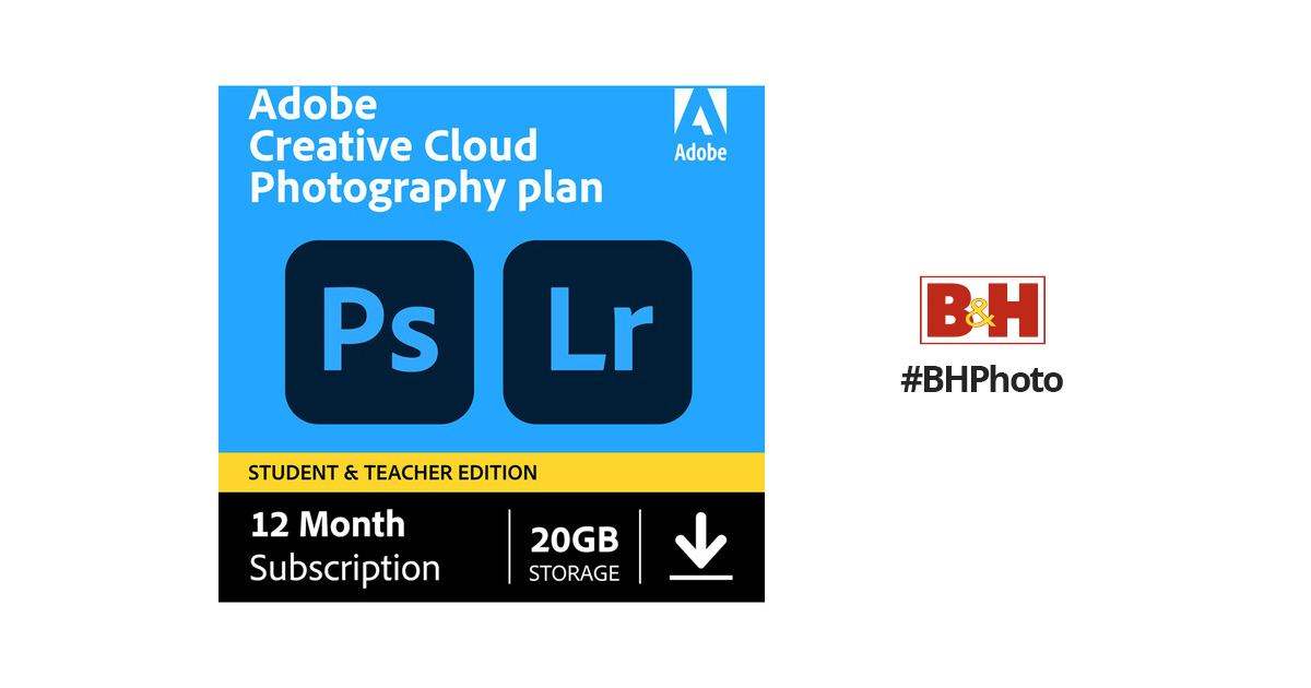 Adobe Creative Cloud Photography Plan with 20GB Cloud Storage (12-Month  Subscription, Student and Teacher Edition, Download)
