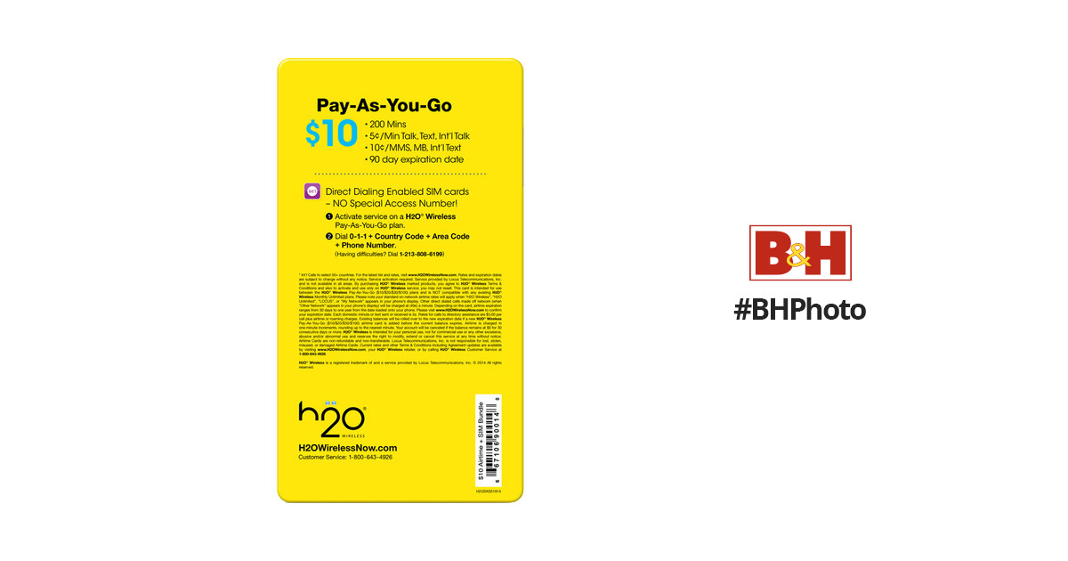 H2O WIRELESS $10 Pay-As-You-Go Plan and 3-in-1 SIM Card Starter Kit