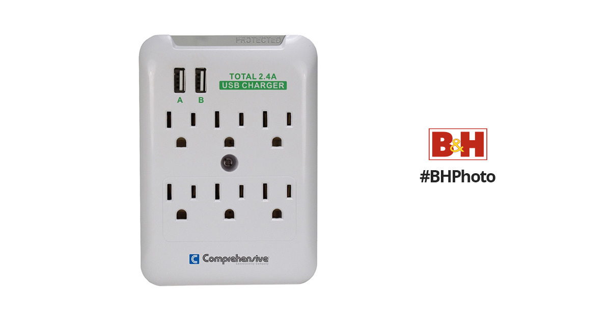 Comprehensive Cable Wall Mount 6-Port Surge Outlet CPWR-SP6-USB2