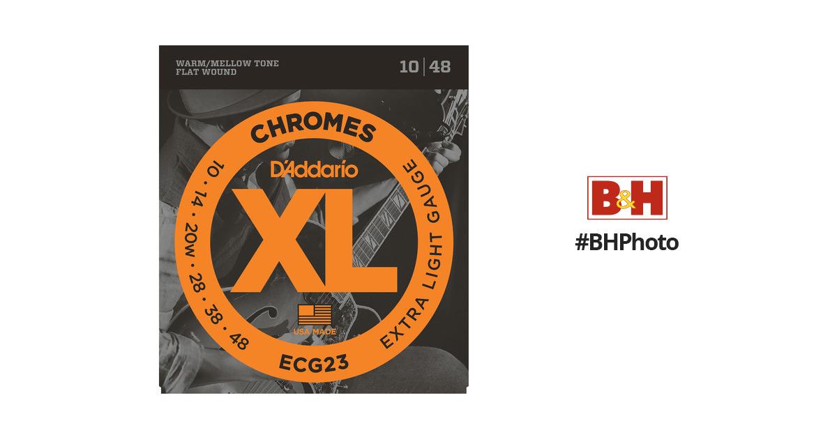 D/'Addario ECG-23 XL Chromes Flat Wound Electric Guitar Strings 10-48 extra light