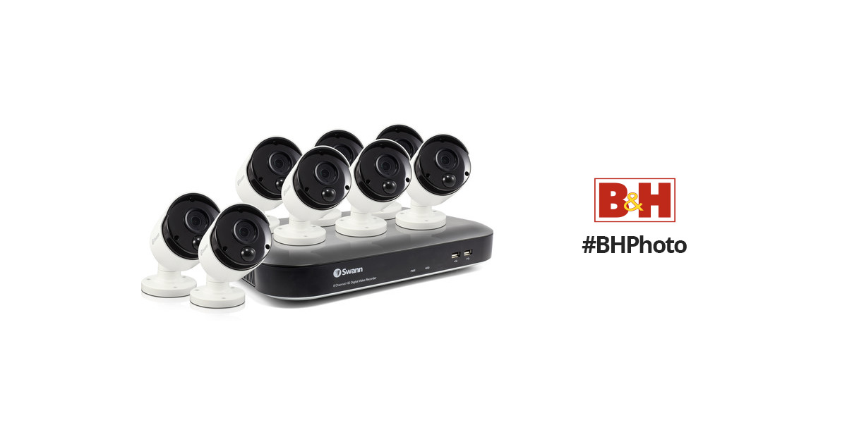 SwannPro Series 8-Channel 5MP DVR with 2TB HDD and 8 5MP Outdoor Bullet  Cameras