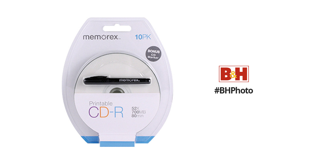 photo relating to Printable Cd R known as Memorex 700MB / 80-moment 52x CD-R Disc with White Inkjet-Printable Look (10-Pack with Marker)