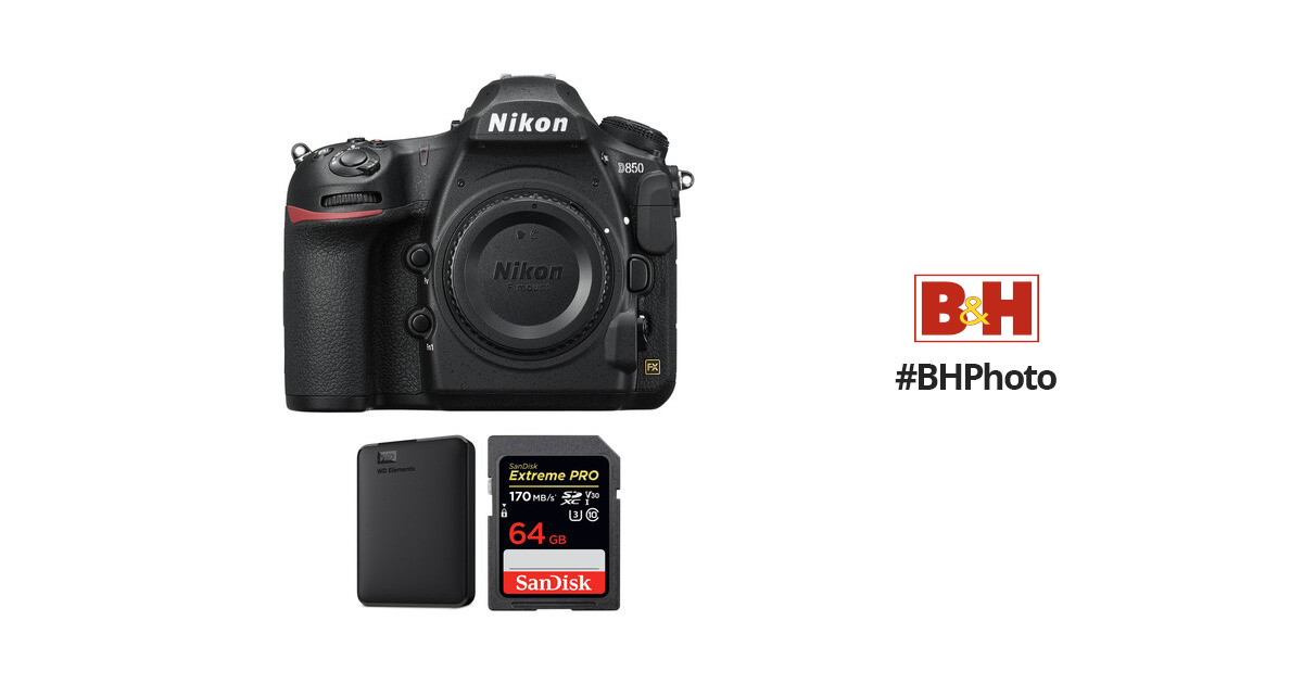 Nikon D850 DSLR Camera Body with Storage Kit