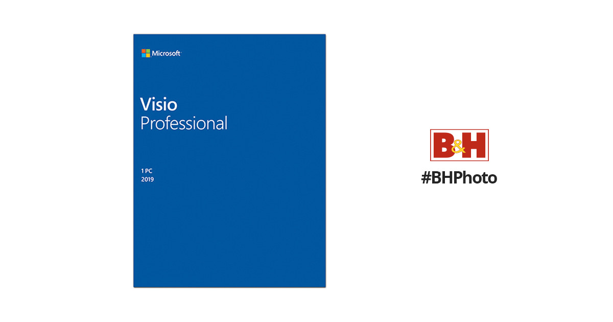 Microsoft Visio Professional 2019 (1-User License, Media-Less Product Key  Code)