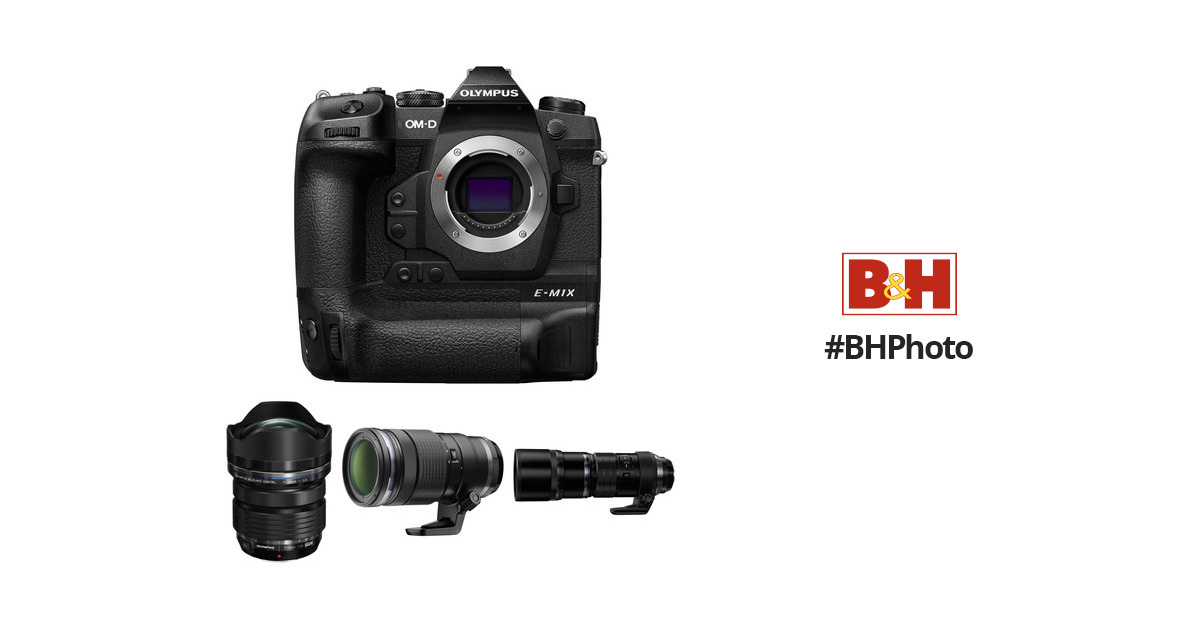Olympus OM-D E-M1X Mirrorless Digital Camera with M.Zuiko 7-14mm, 40-150mm, and 300mm PRO Lenses Kit