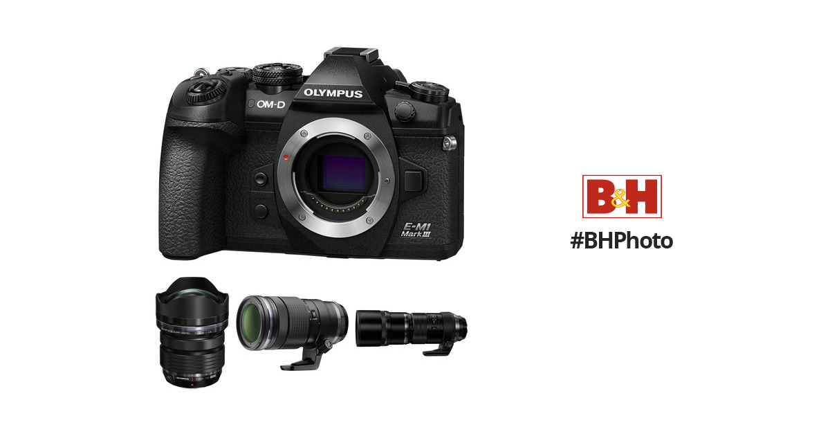 Olympus OM-D E-M1 Mark III Mirrorless Digital Camera with M.Zuiko 7-14mm, 40-150mm, and 300mm PRO Lenses Kit