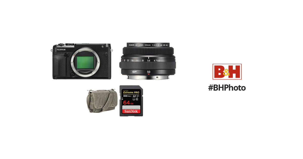 FUJIFILM GFX 50R Medium Format Mirrorless Camera with 50mm Lens and Accessories Kit