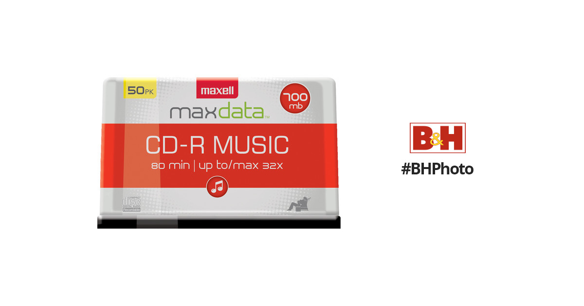Spindle Pack of 50 #625156 Maxell CD-R 80 32x Music Gold for Audio Recording
