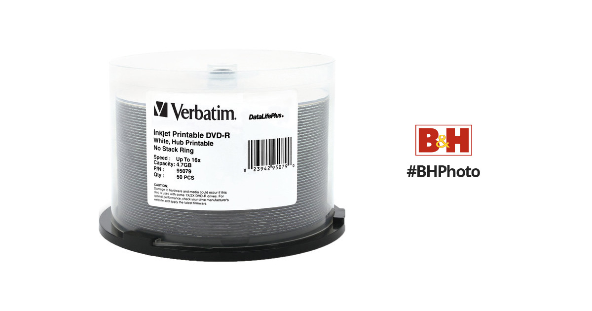 photograph relating to Printable Dvd Disc known as Verbatim DVD-R 4.7GB 16X Printable DataLifePlus (50 Pack)