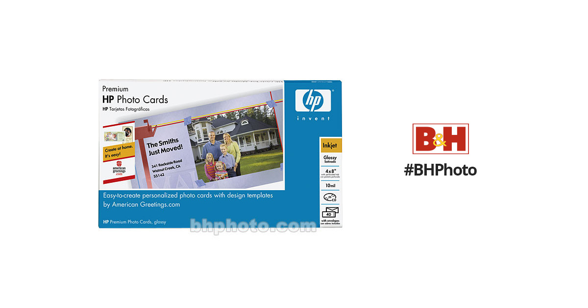Hp premium photo greeting cards 4x8 40 cards q7892a m4hsunfo