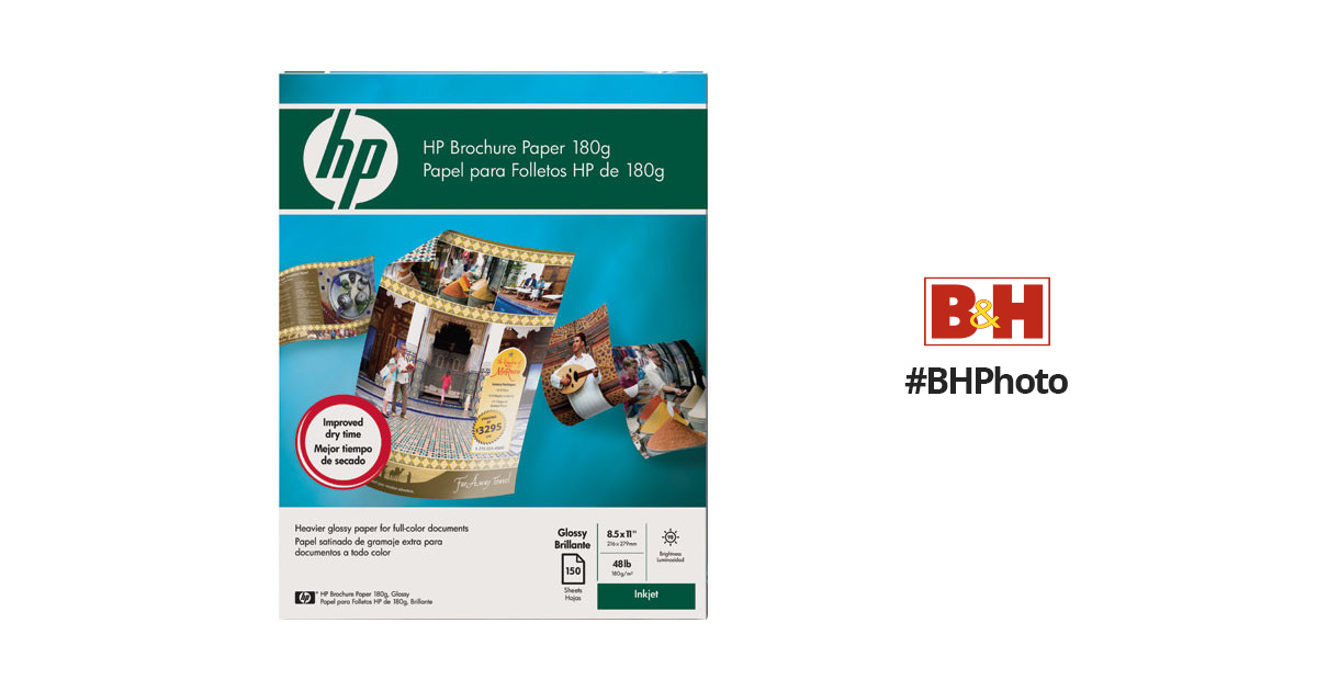 HP Brochure and Flyer Paper (Glossy, 2-sided) for Inkjet - 8 5x11