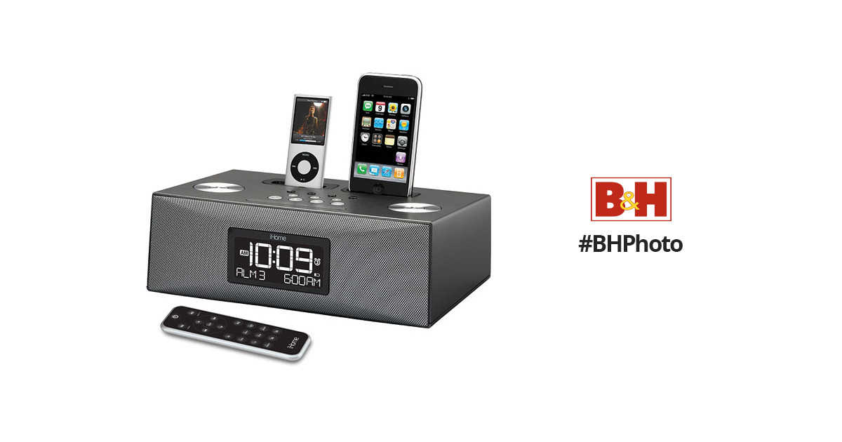 iHome iP86G Dual Dock Alarm Clock Radio for iPhone/iPod (Black)