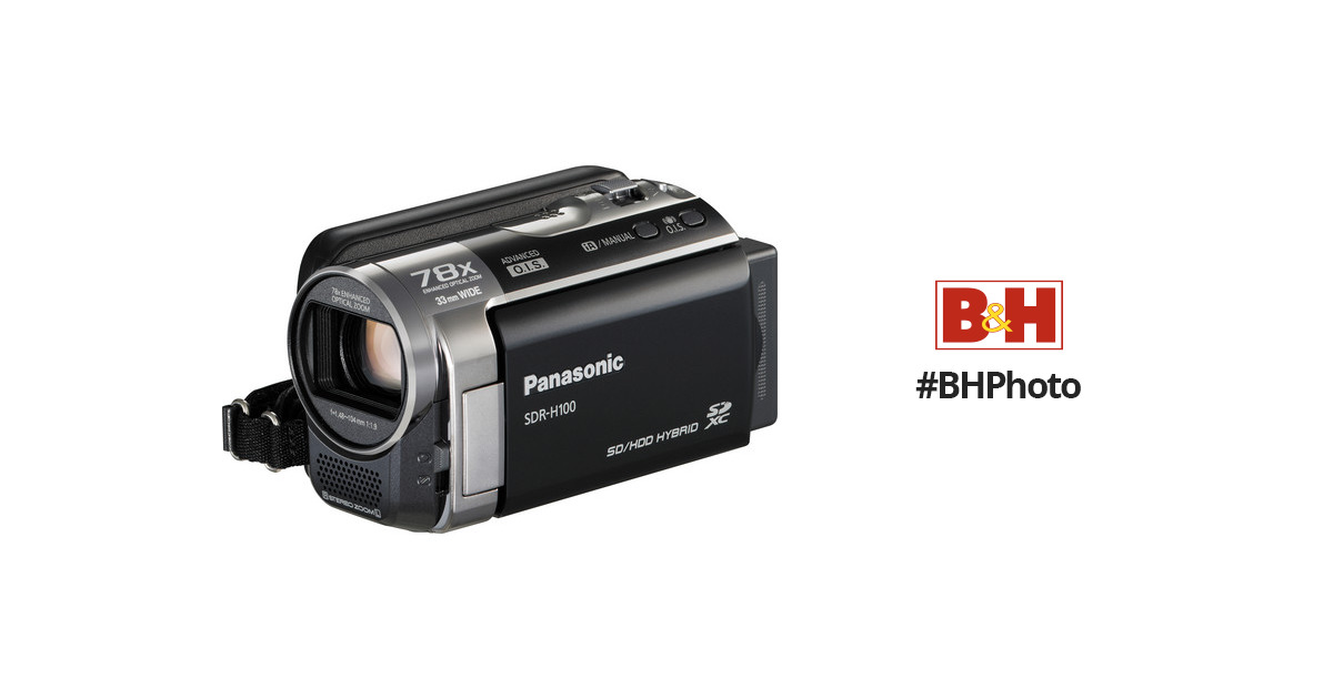 panasonic sdr h100 camcorder black sdr h100k b h photo video rh bhphotovideo com Panasonic PV-BP18 P-V611 Battery Pack Panasonic SDR- H60P PC Microphones