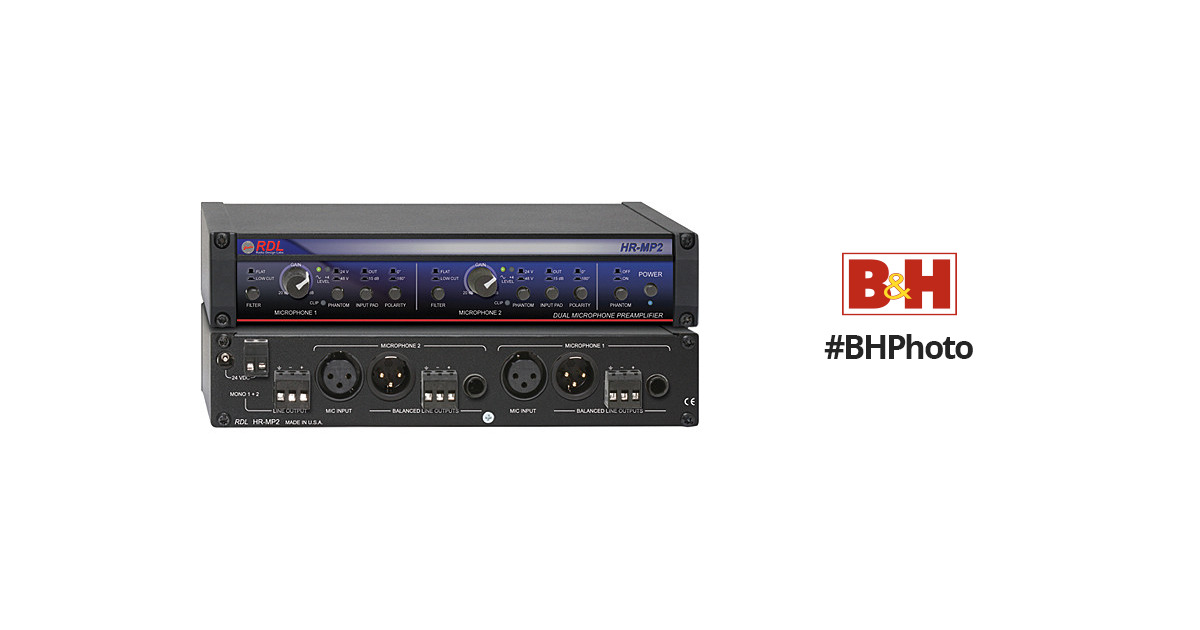 Power Supply Included RDL HR-MP2 Dual Microphone Preamplifier