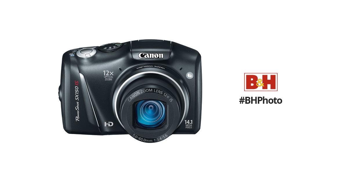 4bc8434f8deea Canon PowerShot SX150 IS Digital Camera (Black) 5664B001 B H