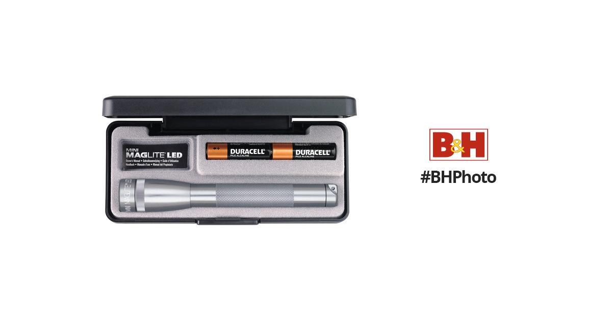 MAGLITE Mini Adjustable Beam LED Flashlight Gray #SP22097 2 AA Batteries