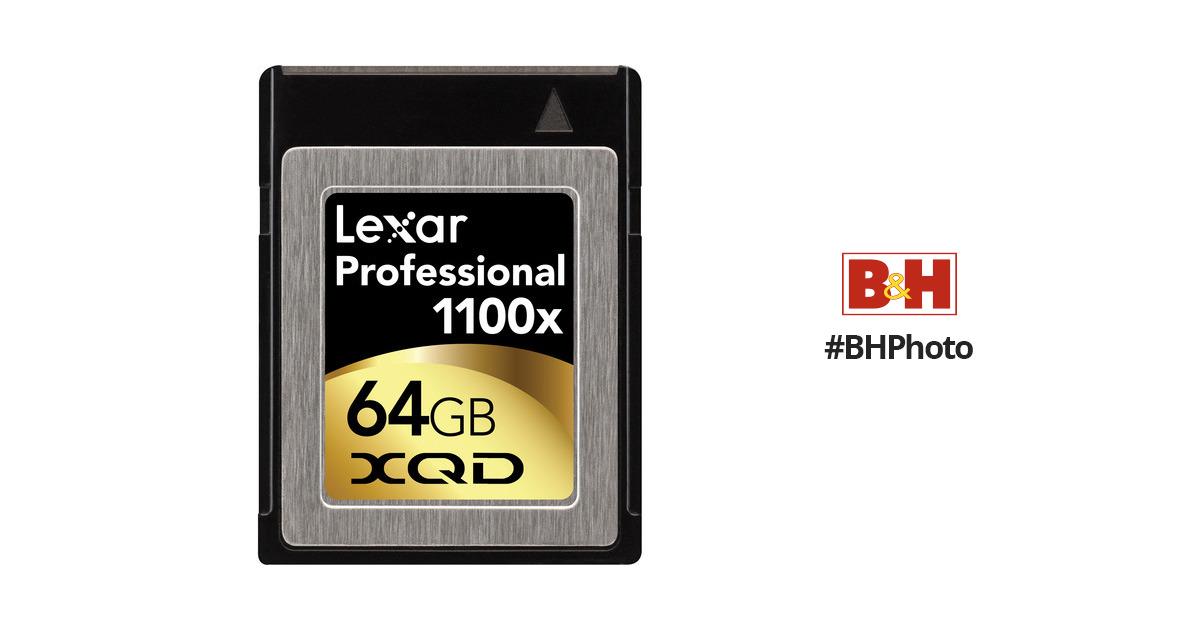 lexar 64gb xqd professional 1100x memory card lxqd64gctbna1100