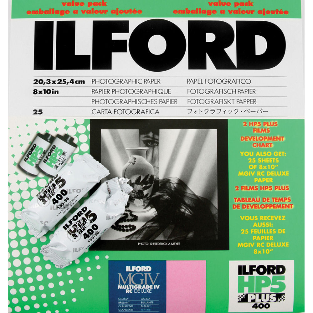 Ilford MGD.1 B/&W Paper Pearl 25 sheet Value Pack with 2 rolls HP5 Film