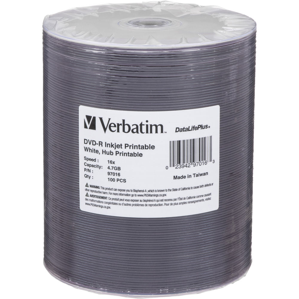 graphic relating to Inkjet Printable Cd called Verbatim DVD-R 4.7GB 16x Inkjet Printable Disc (100-Pack)
