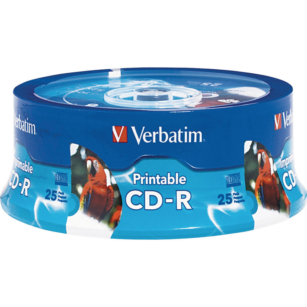 photo regarding Inkjet Printable Cd titled Verbatim CD-R 80 Instant, 700MB, 52xm Create-At the time, White, Inkjet Printable, Hub Printable Recordable Smaller Disc (Spindle Pack of 25)