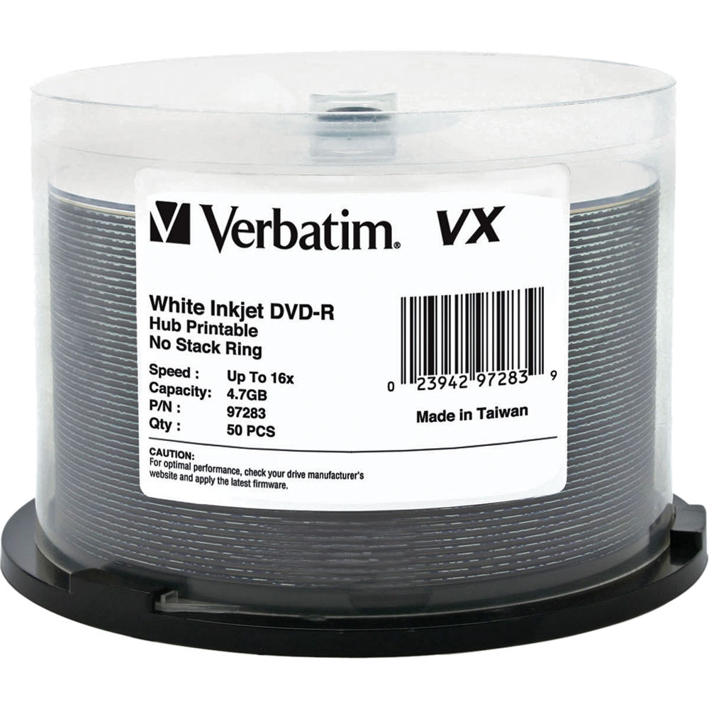 picture relating to Printable Dvd Discs identify Verbatim VX 4.7GB DVD-R 16x Inkjet and Hub Printable Discs (50-Pack Spindle)