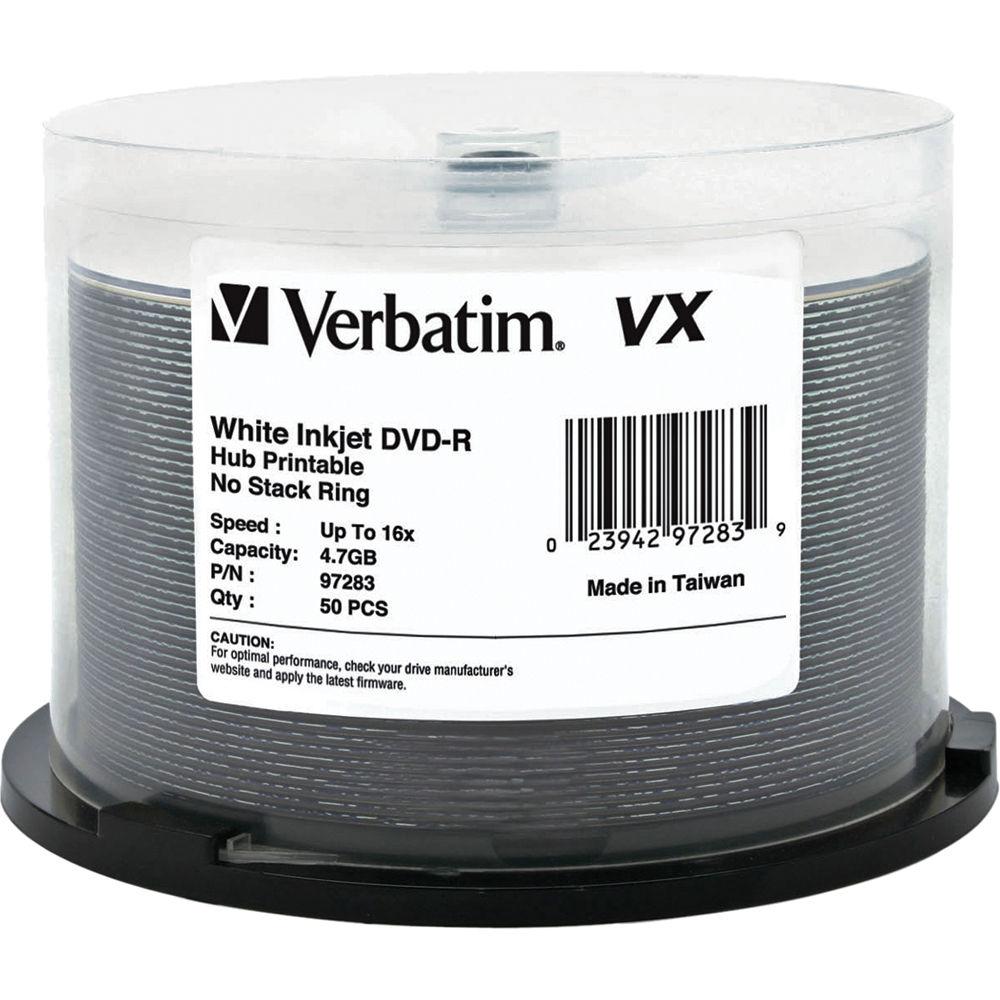 picture regarding Printable Dvd Discs identified as Verbatim VX 4.7GB DVD-R 16x Inkjet and Hub Printable Discs (50-Pack Spindle)