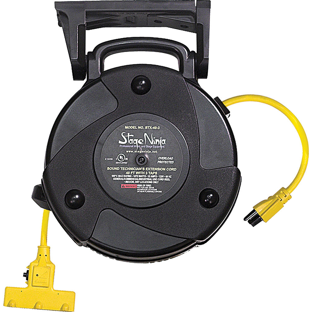 Retractable Power Cord >> Stage Ninja 14 Awg 3 Outlet Retractable Power Reel With Circuit Breaker Yellow Cord Black Thermoplastic Housing 50
