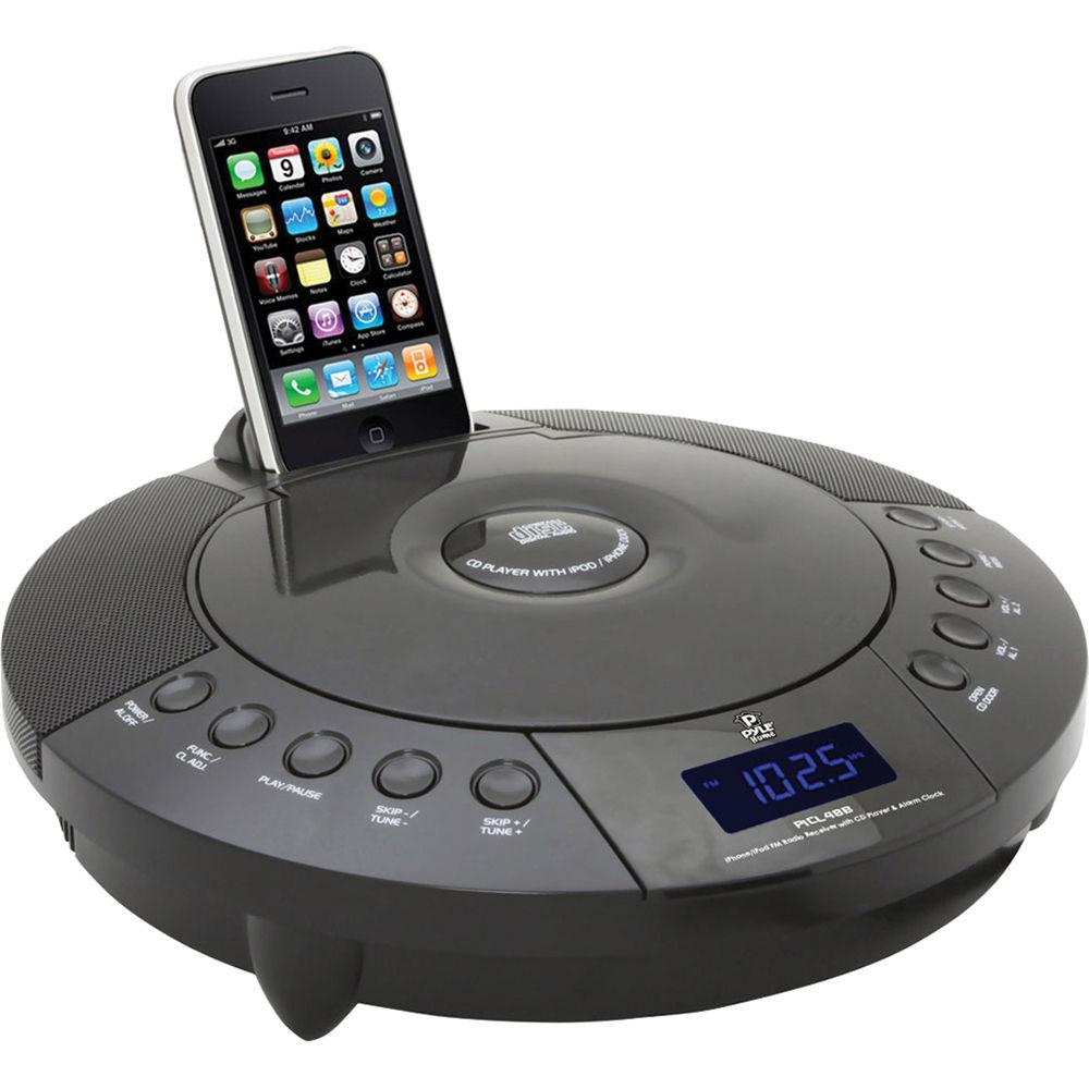 Pyle Home iPhone/iPod FM Radio Receiver with CD Player & Alarm Clock (Black)