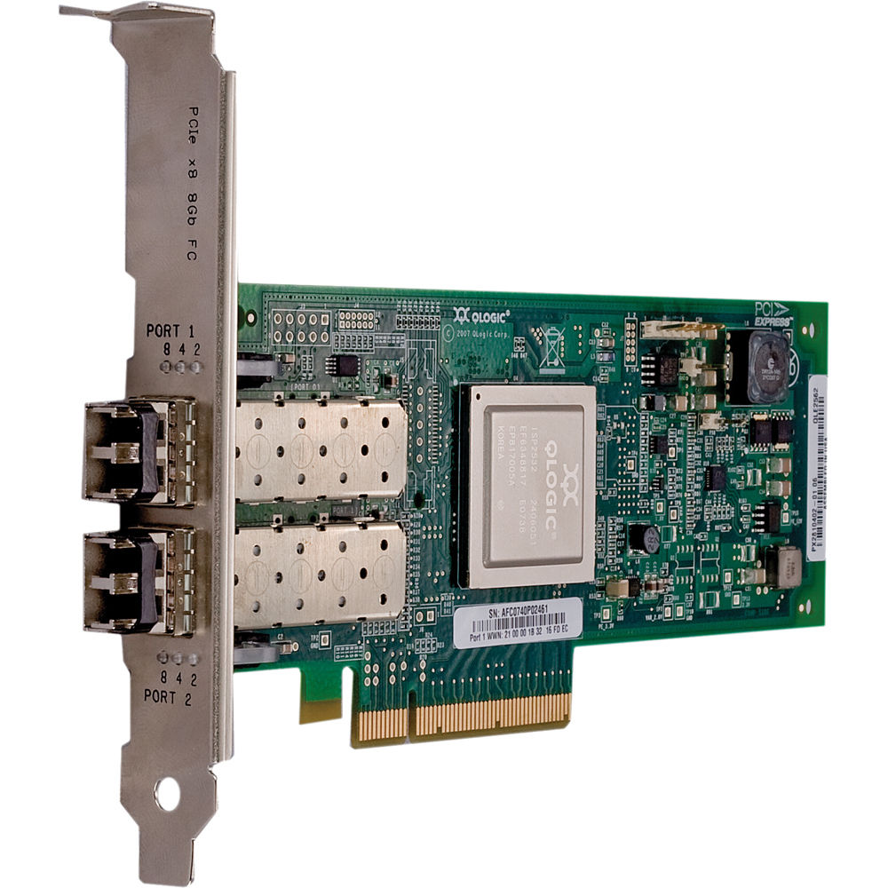 New Q-Logic 2500 Series QLE2562 Dual Port PCIe to 8 Gbps Fibre Channel Adapter