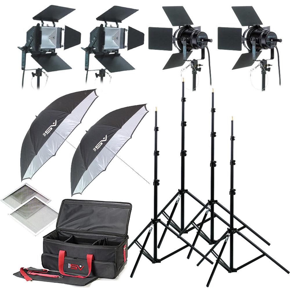 Smith Victor K79 4 Light 3200 Watt Professional Studio Lighting Kit 120 240 Vac