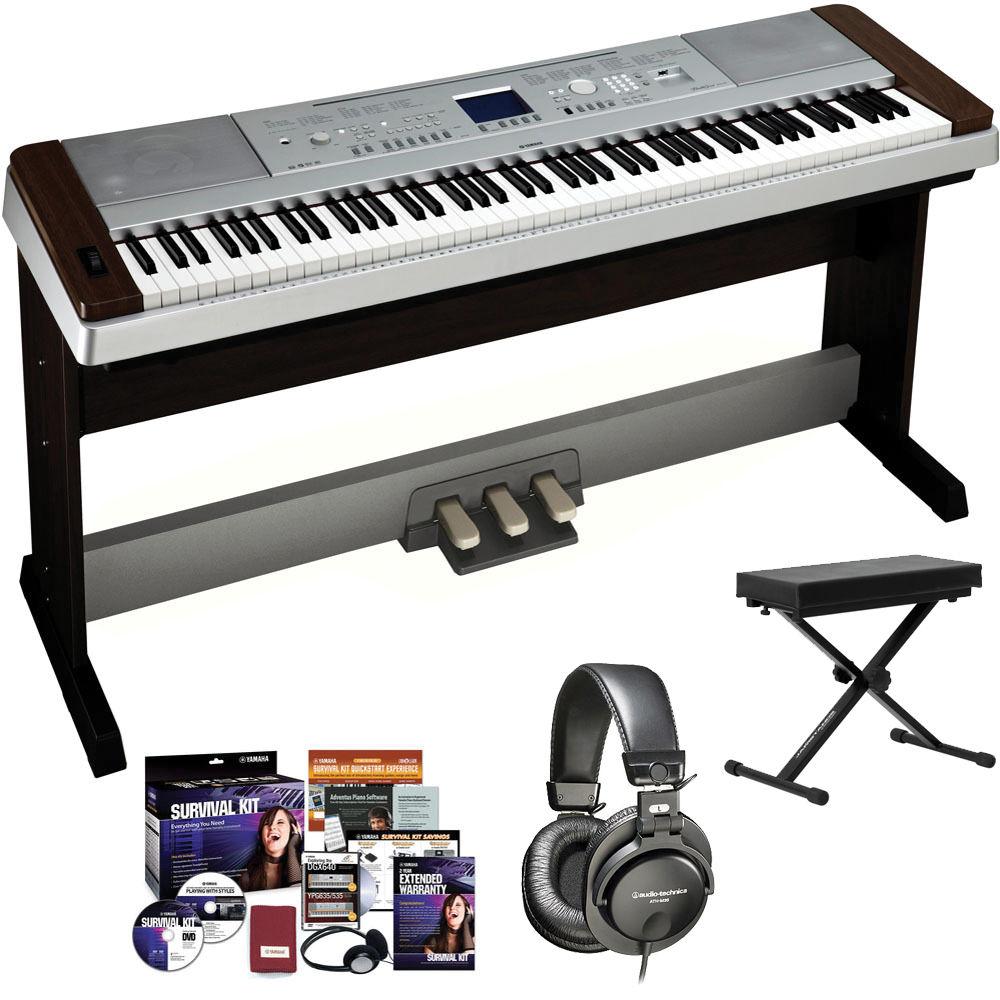 Yamaha DGX-640 Portable Grand Piano Complete Bundle (Walnut)