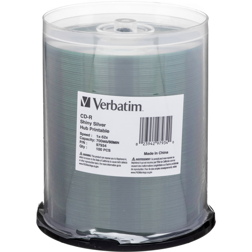 image about Printable Cds known as Verbatim Brilliant Silver Hub Printable CD-Recordable Discs (Spindle 100-Pk)