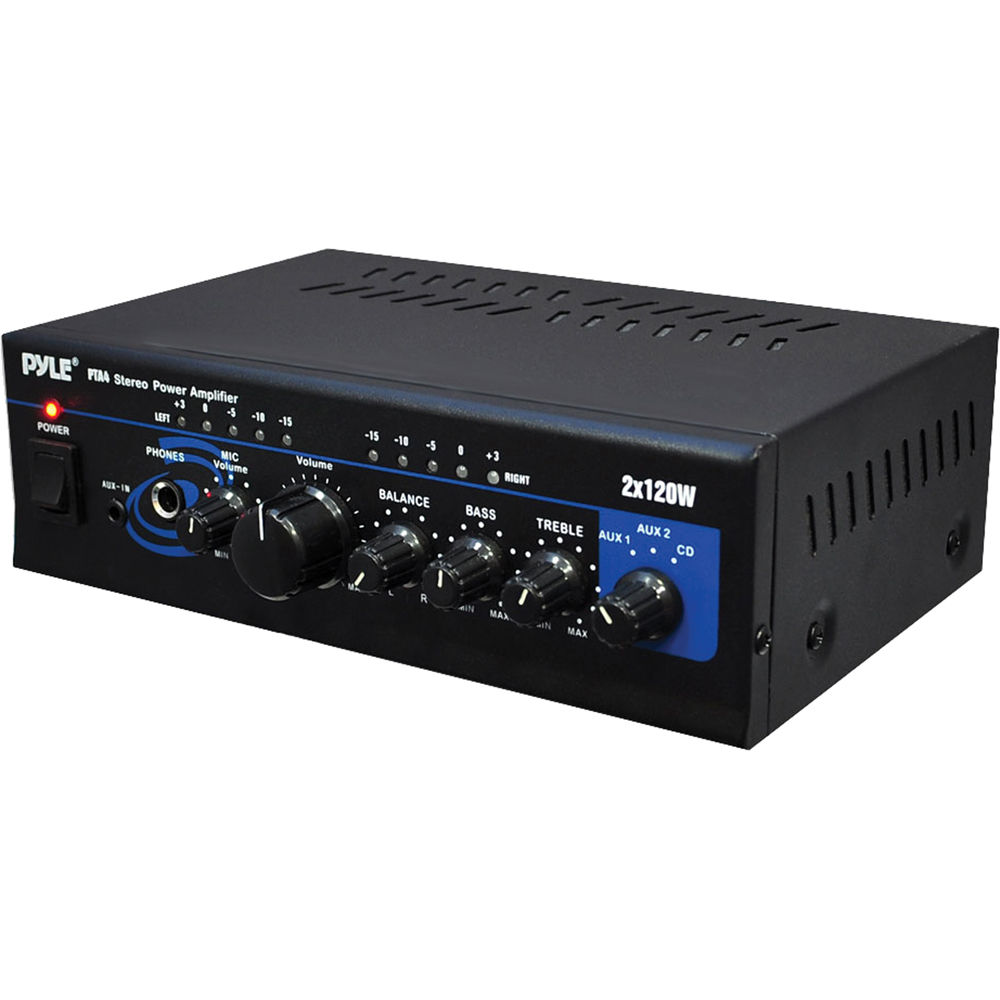 NEW Pyle Mini 2 x 120W Stereo Power Amplifier W// USB /& Audio Input for CD//MP3