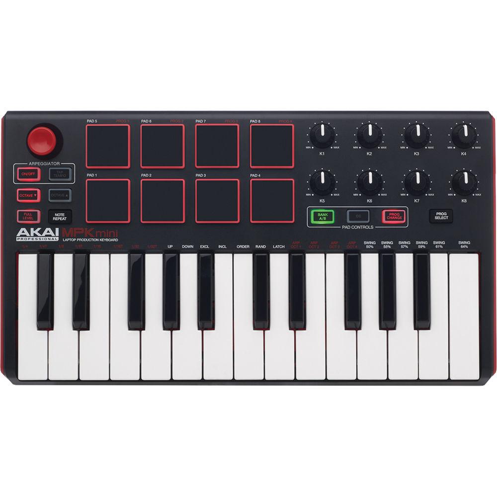 Akai Professional MPK mini MKII - Compact Keyboard and Pad Controller  (Black-on-White)