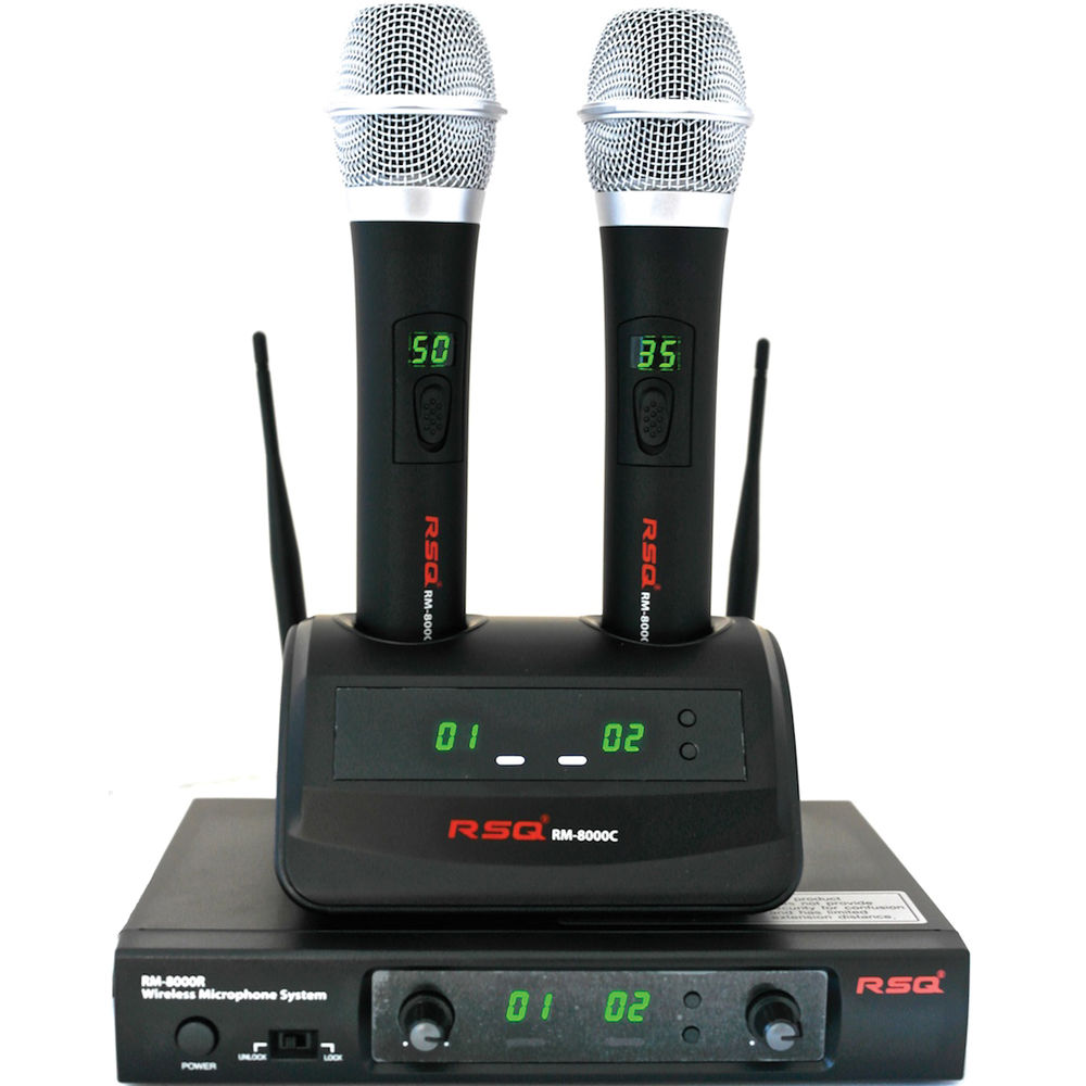 RSQ Audio RM-8000 Rechargeable Dual Channel Wireless Microphone System (UHF  600 to 960 MHz)