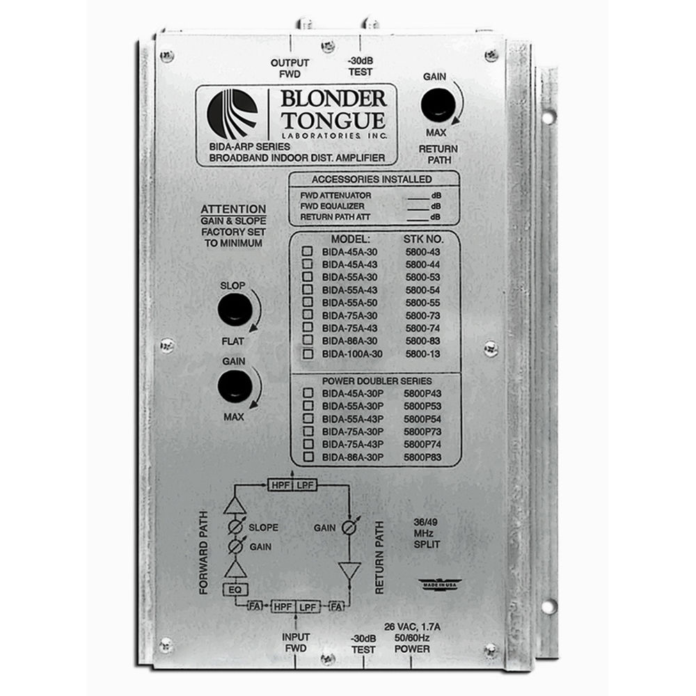 Blonder Tongue BIDA 75A-43 Two-Way Broadband Indoor Distribution Amplifier  (30dB, 49-750MHz)