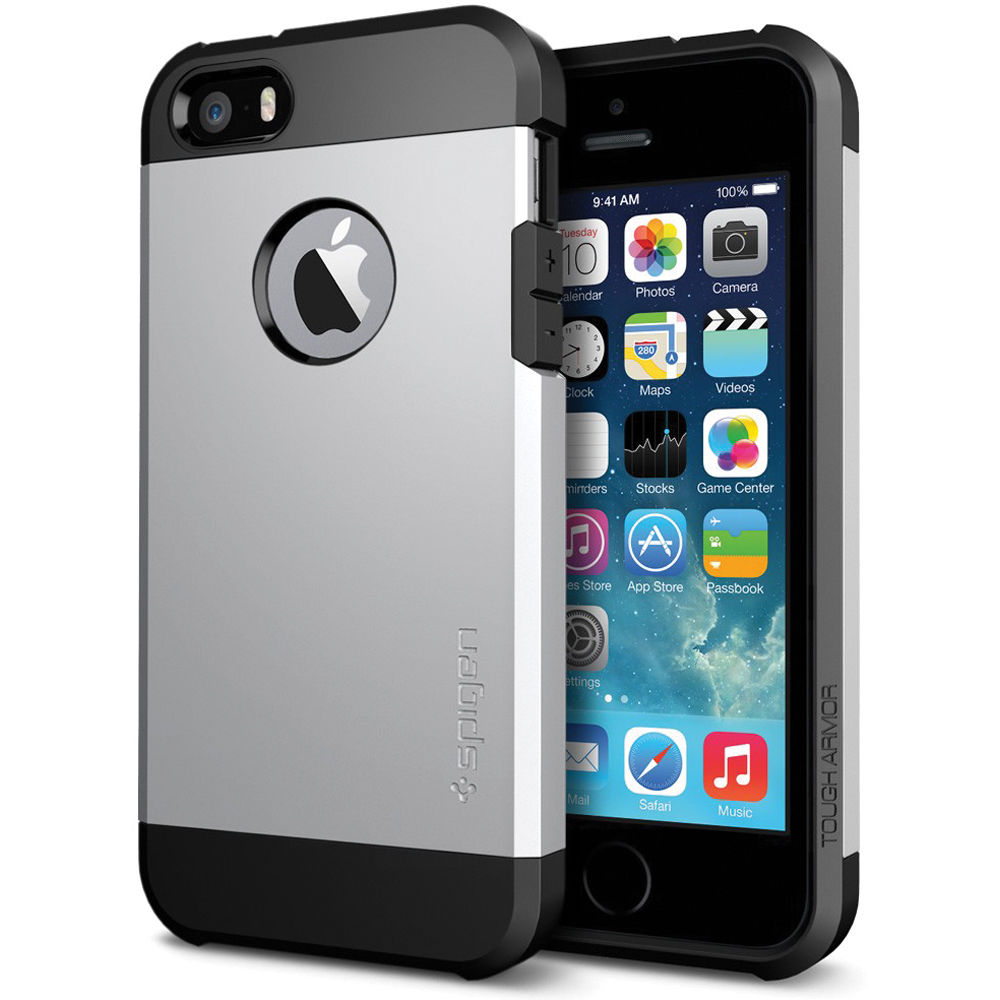 new arrival 43225 ce50f Spigen Tough Armor Case for iPhone 5/5s (Satin Silver)