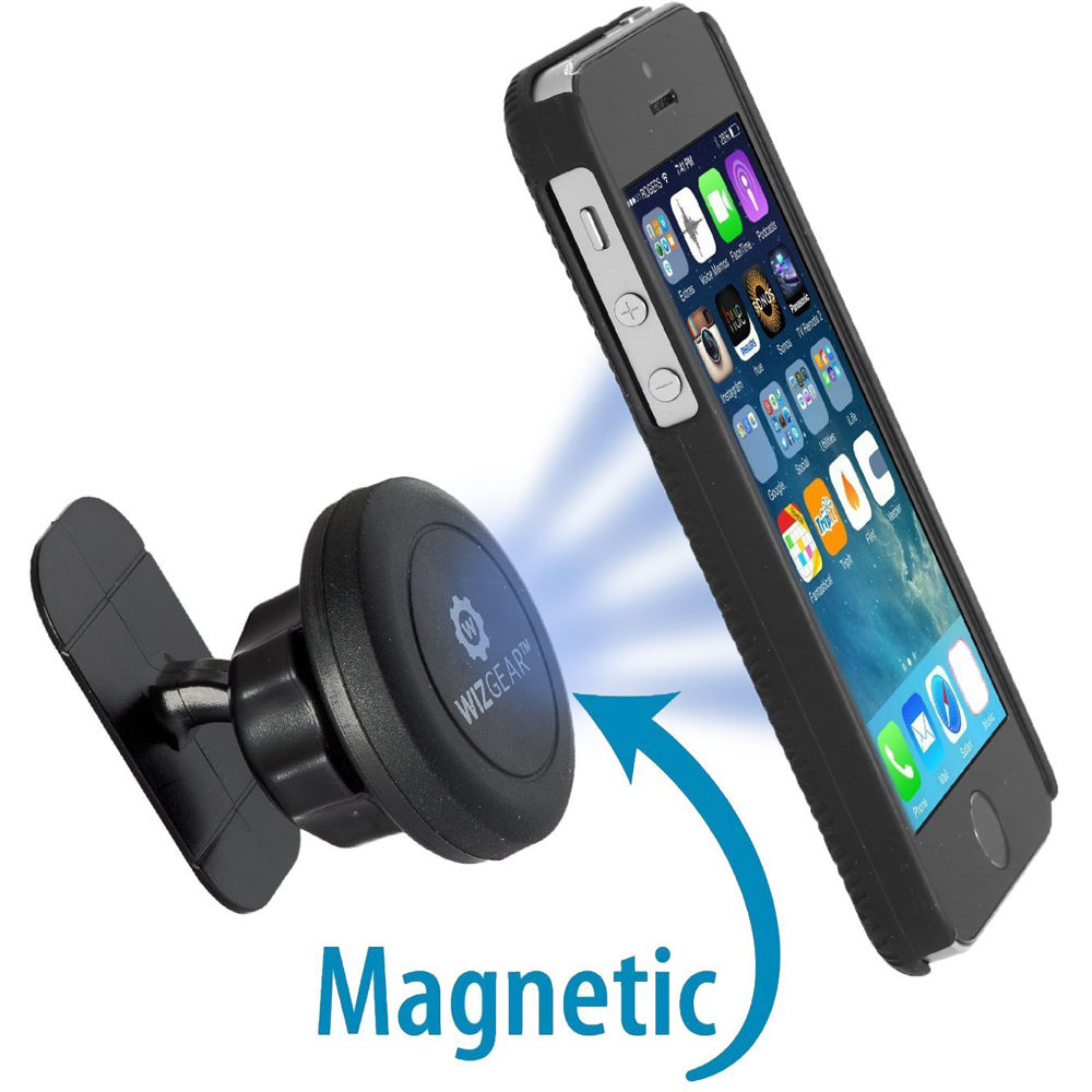Magnetic Cell Phone Mount >> Wizgear Universal Stick On Adhesive Magnet Dash Mount For Smartphones