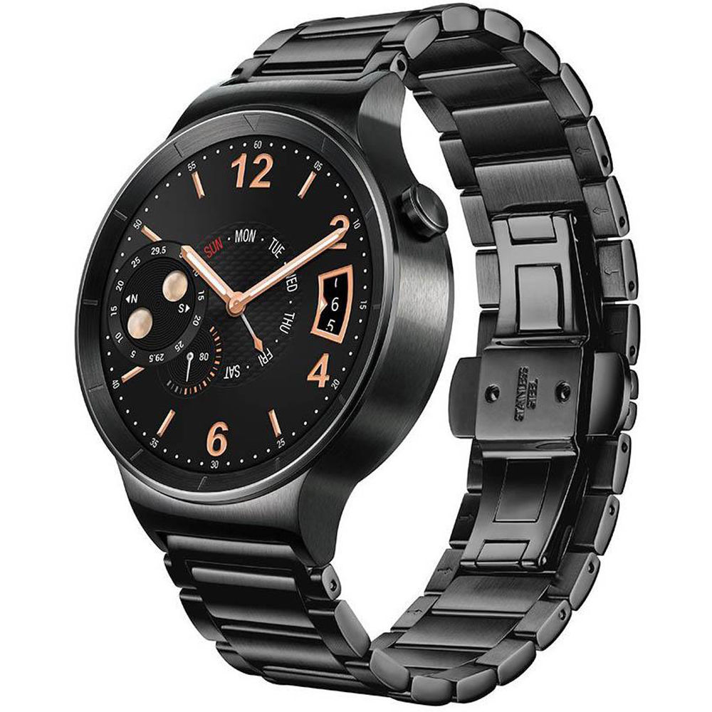 Huawei Watch 42mm Smartwatch (Black Stainless Steel, Black Stainless Steel  Link Band)