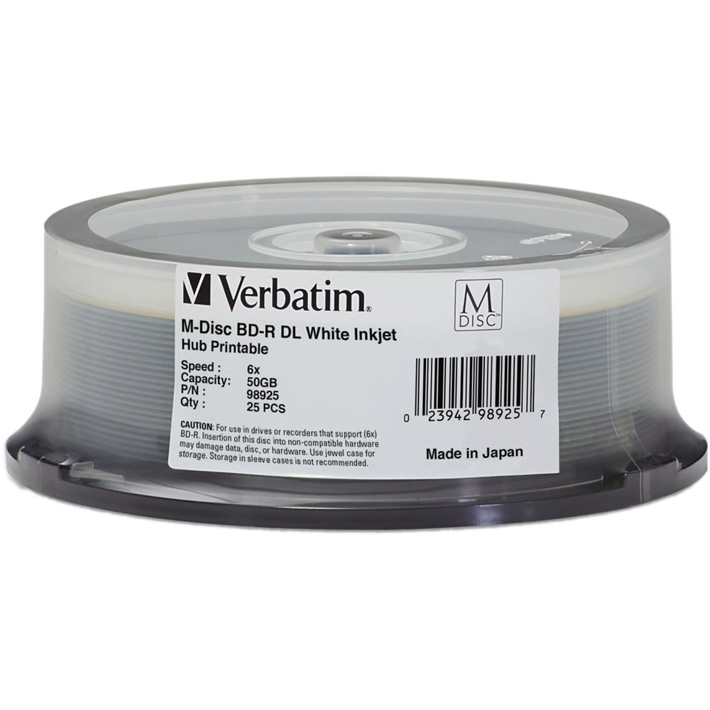 image relating to Printable Blu Ray Discs named Verbatim 50GB M DISC BD-R DL Blu-ray 6x White Inkjet Printable (25-Pack Spindle)