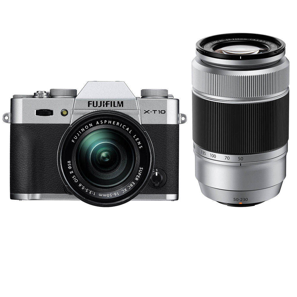 FUJIFILM X-T10 with 16-50mm and 50-230mm Lenses Kit (Silver)