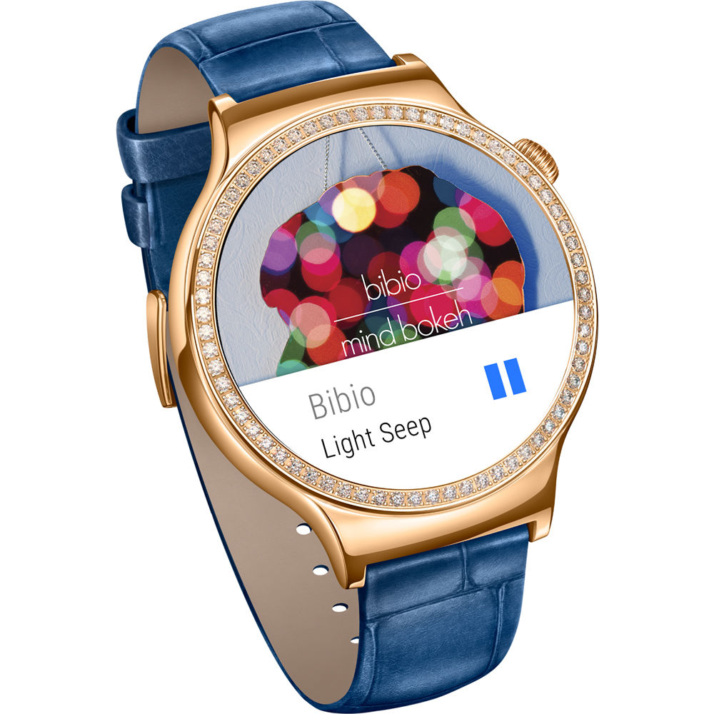Huawei Watch Jewel Women's 44mm Smartwatch (Rose Gold Stainless Steel  Encircled with Swarovski Zirconia, Blue Italian Leather Band)