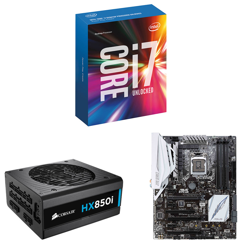 Intel Core i7-6700K 4 0 GHz Quad-Core Processor with ASUS Z170-AR LGA 1151  ATX Motherboard & Corsair HX850i 850W 80 Plus Platinum ATX PSU Kit