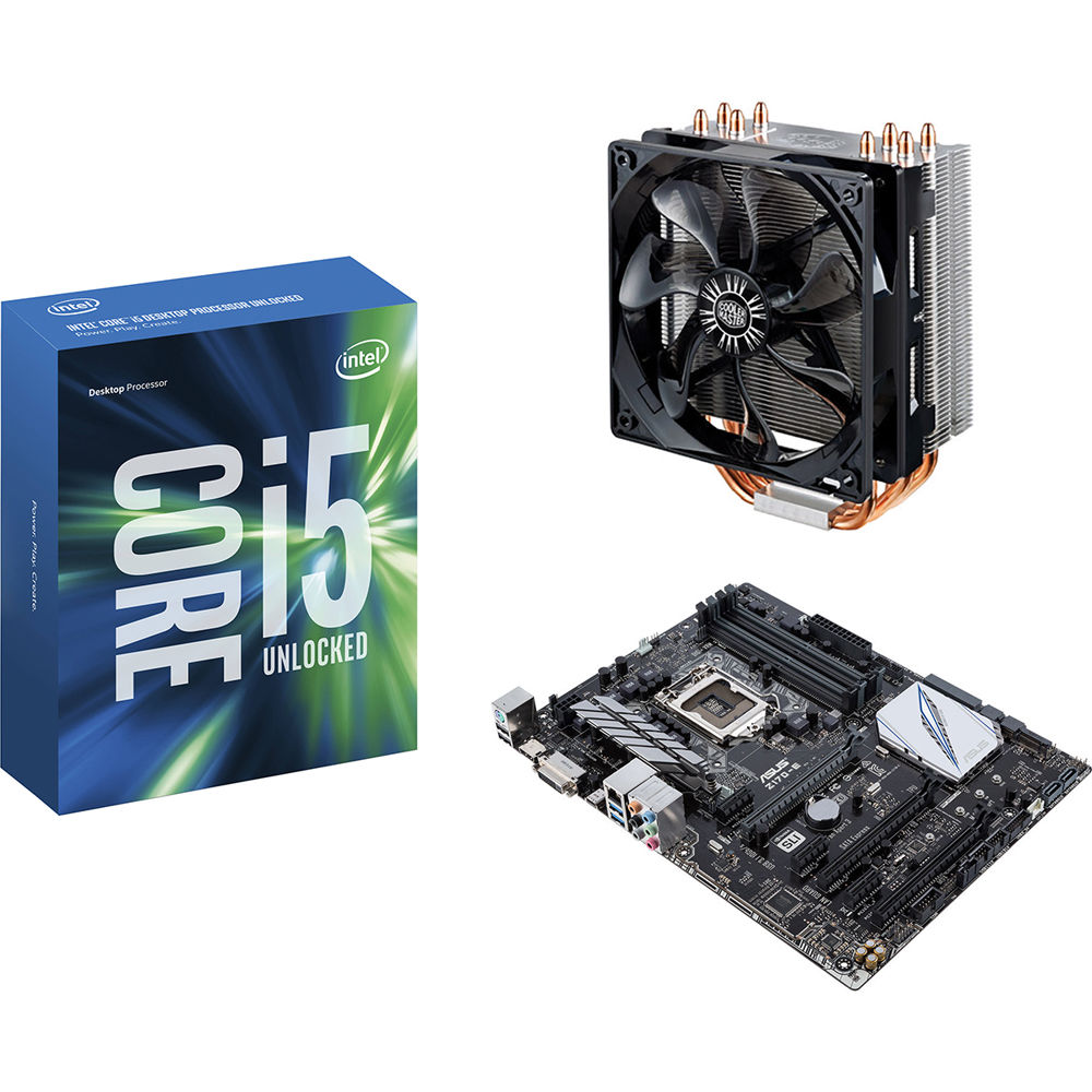 Intel Core i5-6600K 3 5 GHz Quad-Core Processor, Cooler Master Hyper 212  EVO CPU Cooler, & ASUS Z170-E Motherboard Kit