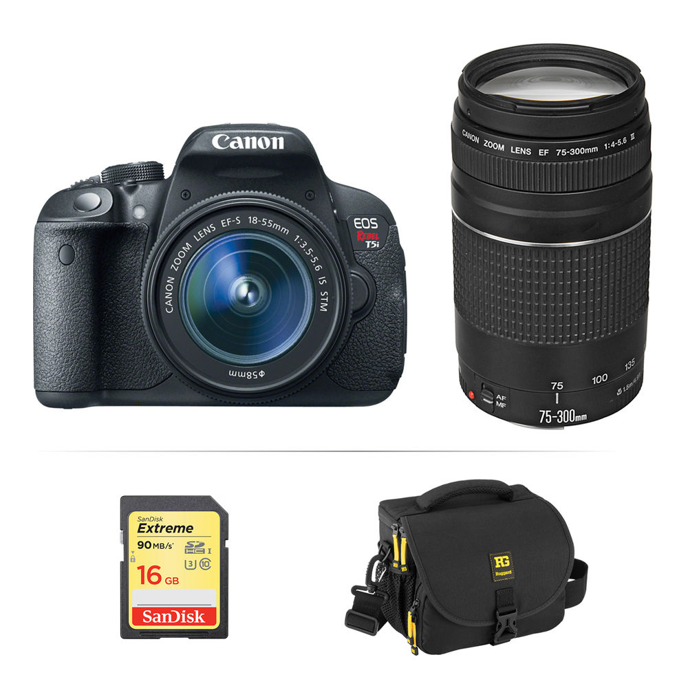 Canon Eos Rebel T5i Dslr Camera With 18 55mm And 75 300mm Lenses Kit