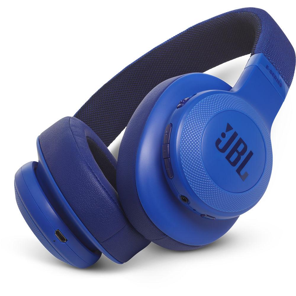 Jbl E55bt Bluetooth Over Ear Headphones Blue Jble55btbluam B H