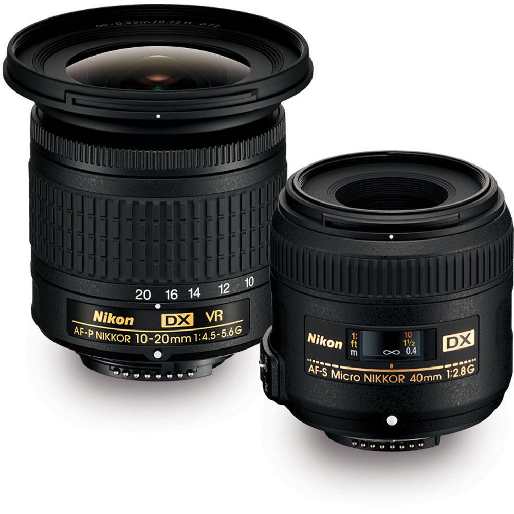 Nikon Landscape & Macro 2 Lens Kit with 10-20mm f/4 5-5 6 and 40mm f/2 8  Lenses