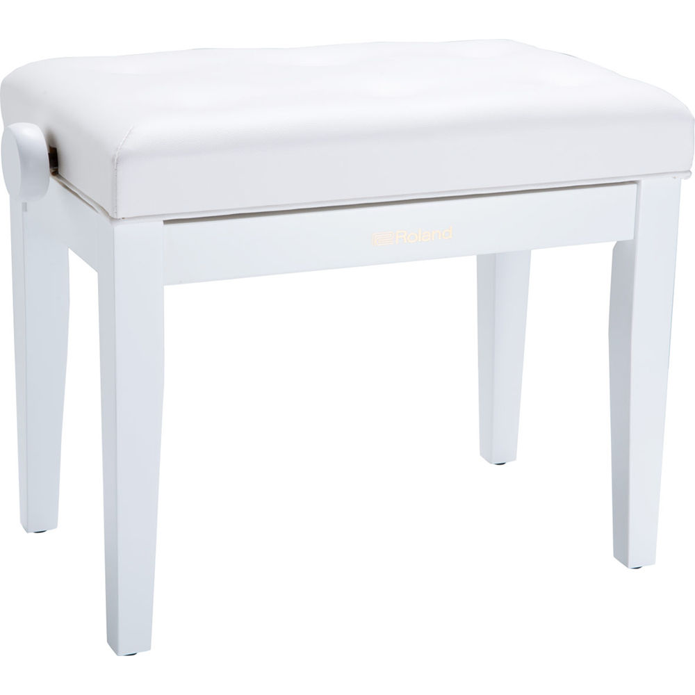 Amazing Roland Rpb 300 Adjustable Height Piano Bench With Cushioned Seat Satin White Theyellowbook Wood Chair Design Ideas Theyellowbookinfo